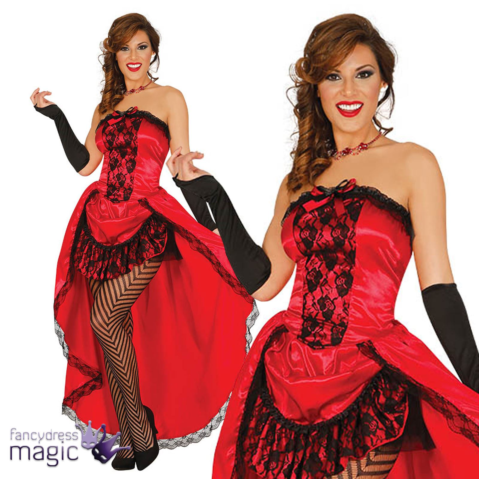 b12f89bb8a3c4 Adults Red Ladies Burlesque Can Can Saloon Girl Moulin Rouge Fancy Dress  Costume