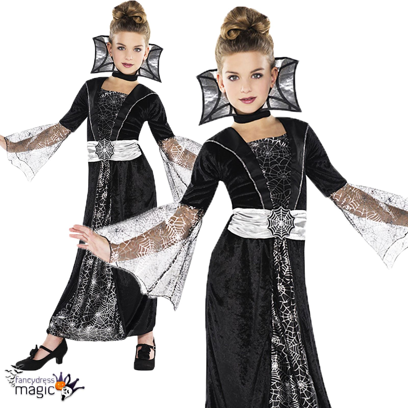 m dchen kinder dunkel gr fin vampir halloween party kost m kleid outfit ebay. Black Bedroom Furniture Sets. Home Design Ideas