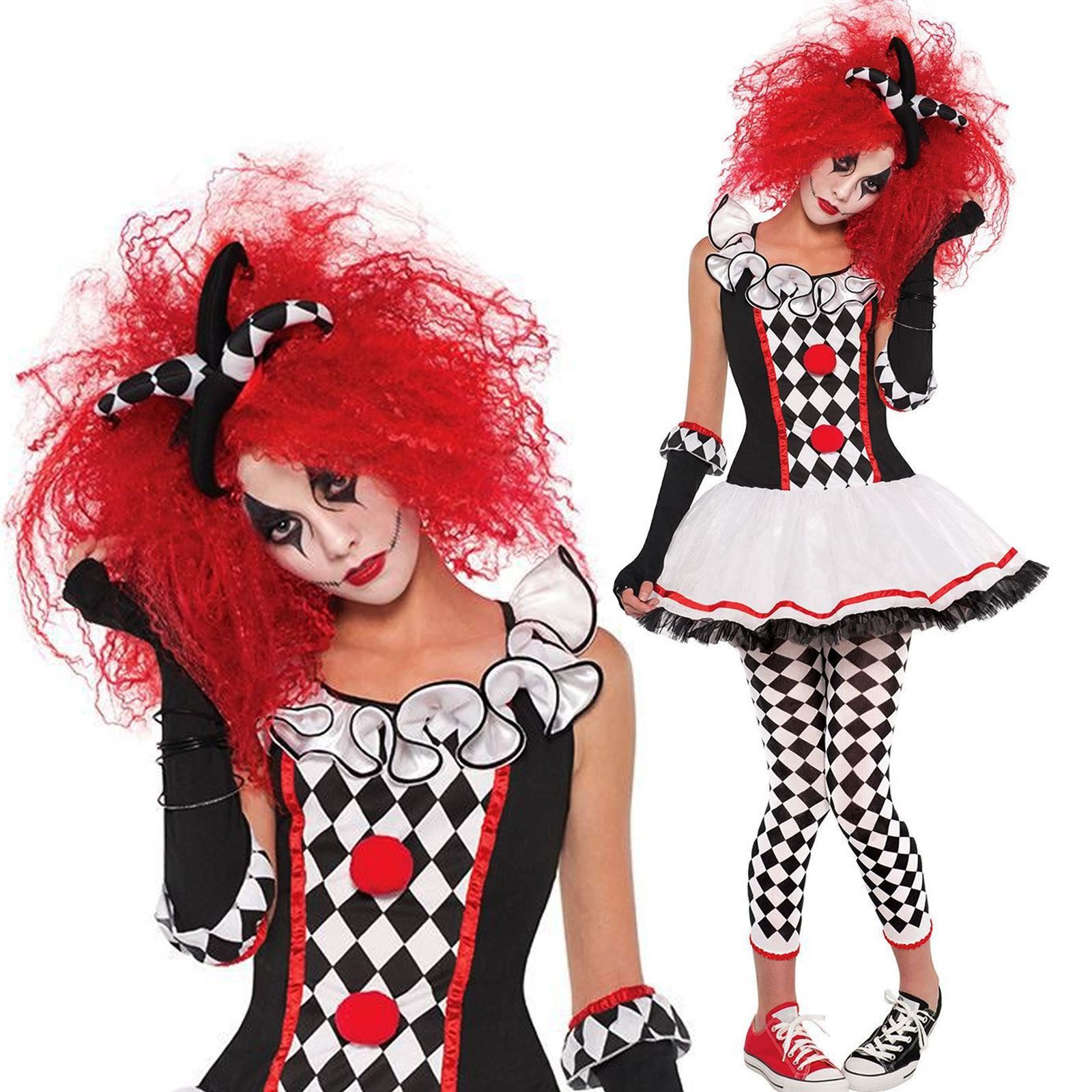 ladies womens clown harlequin honey jester halloween fancy dress