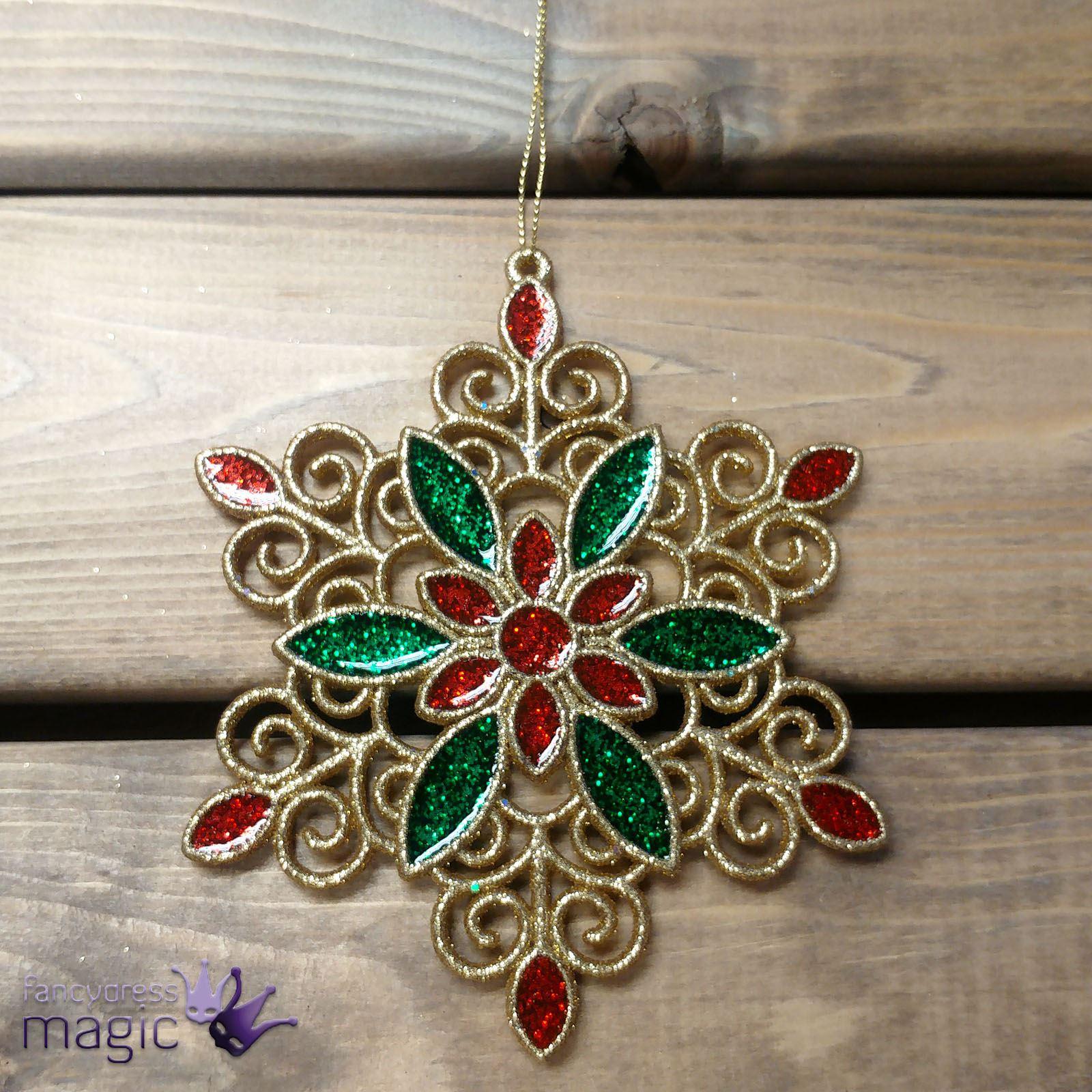 Gisela-Graham-Rouge-Vert-Or-Acrylique-Flocon-de-neige-pendaison-arbre-de-Noel-Decoration