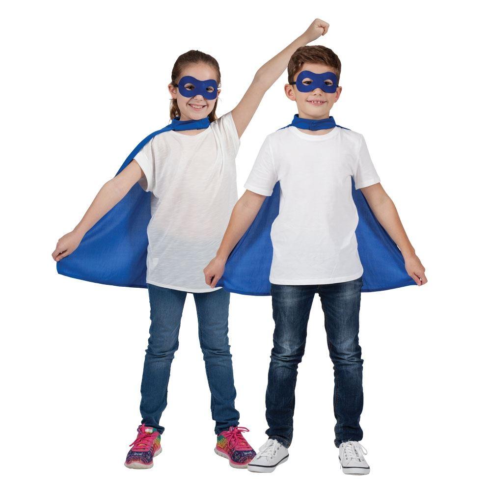 kids girls boys superhero comic book cape eye mask fancy dress