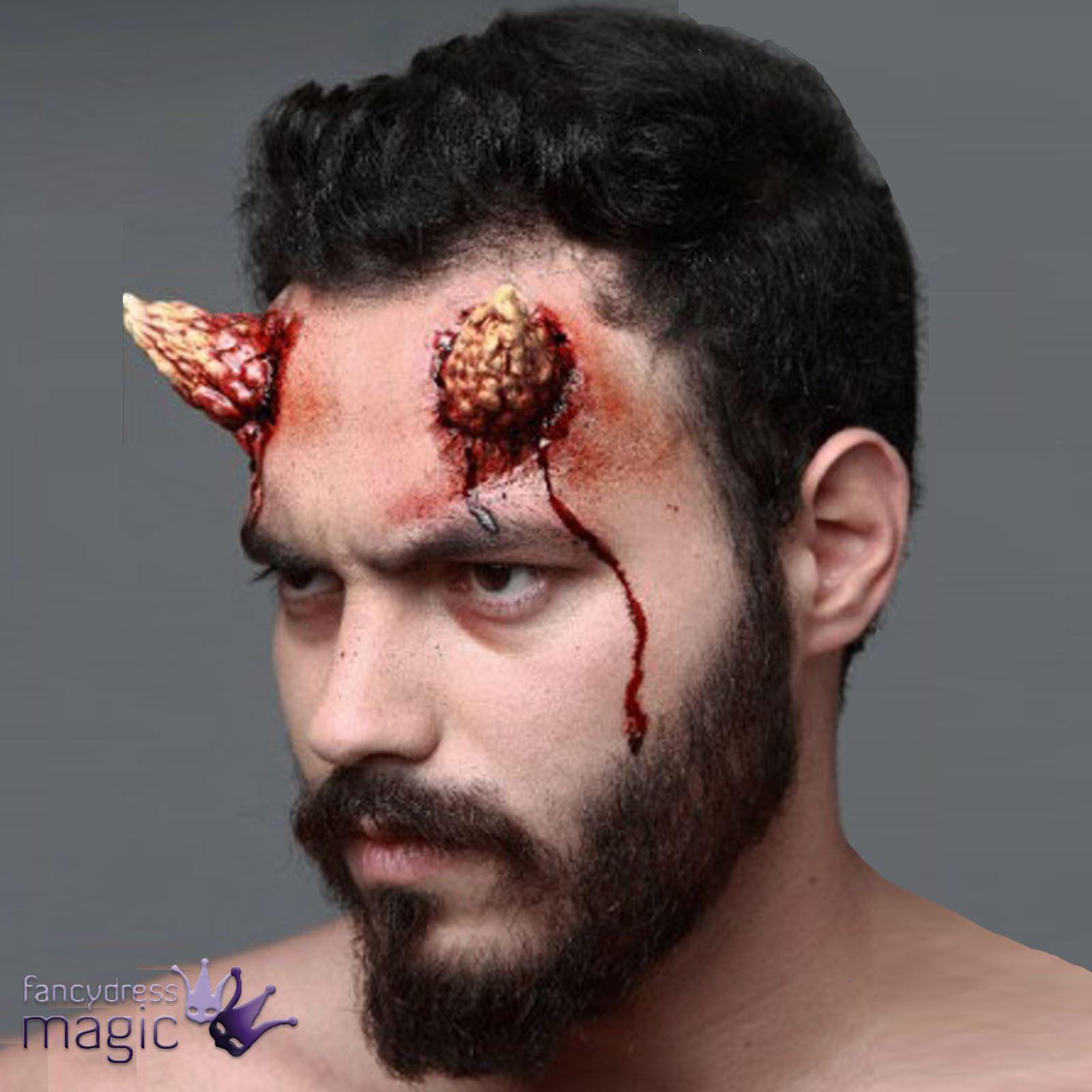 Stick On Latex Devil Demon Satan FX Horns Halloween Wound Fancy ...