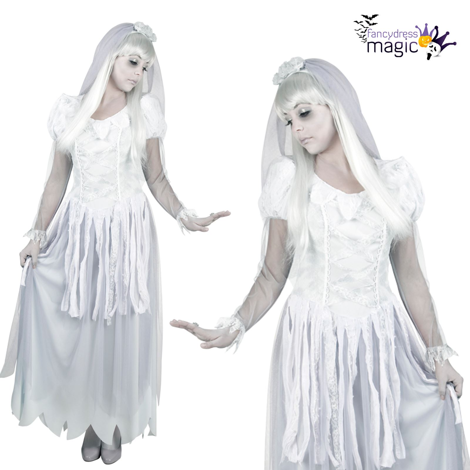 c3ef81886a5d Ladies Mens Couples Halloween White Ghost Bride Groom Fancy Dress Costume  Outfit