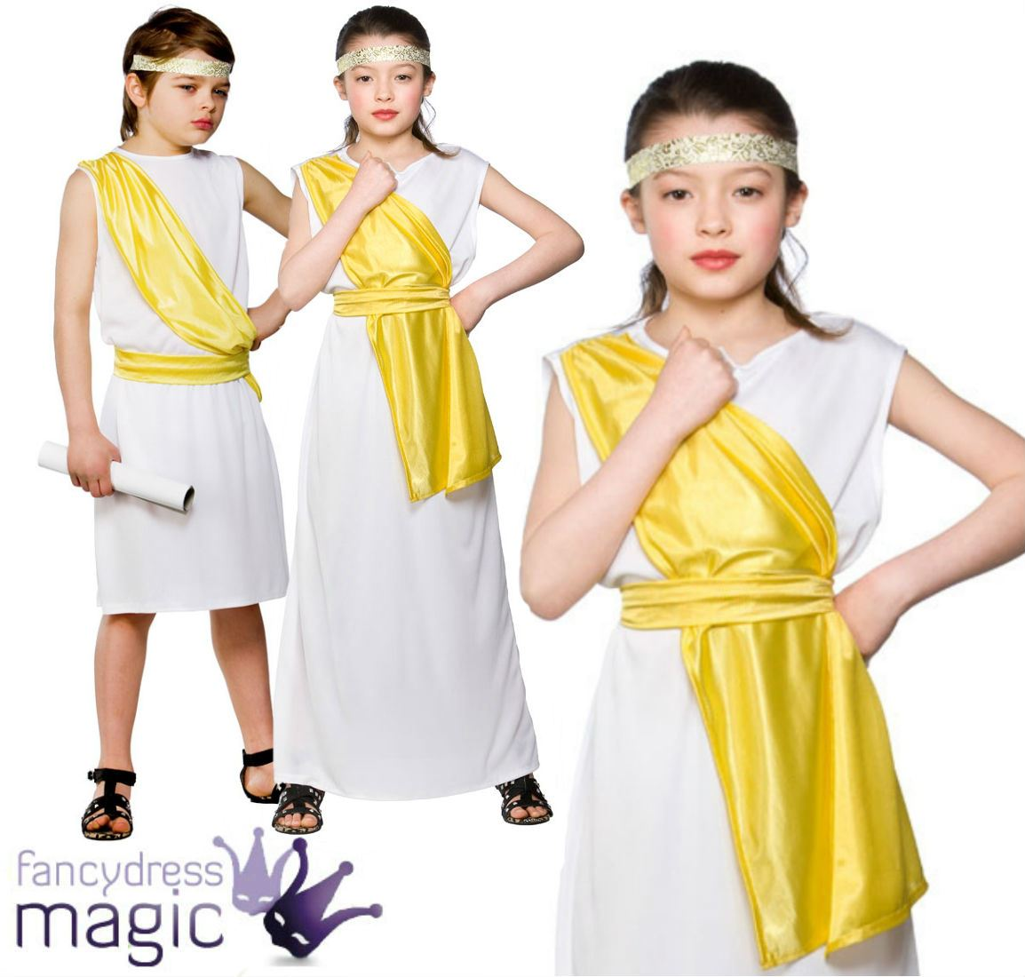 Boys Girls Greek Egyptian Fancy Dress Costume Outfit Goddess Toga ...