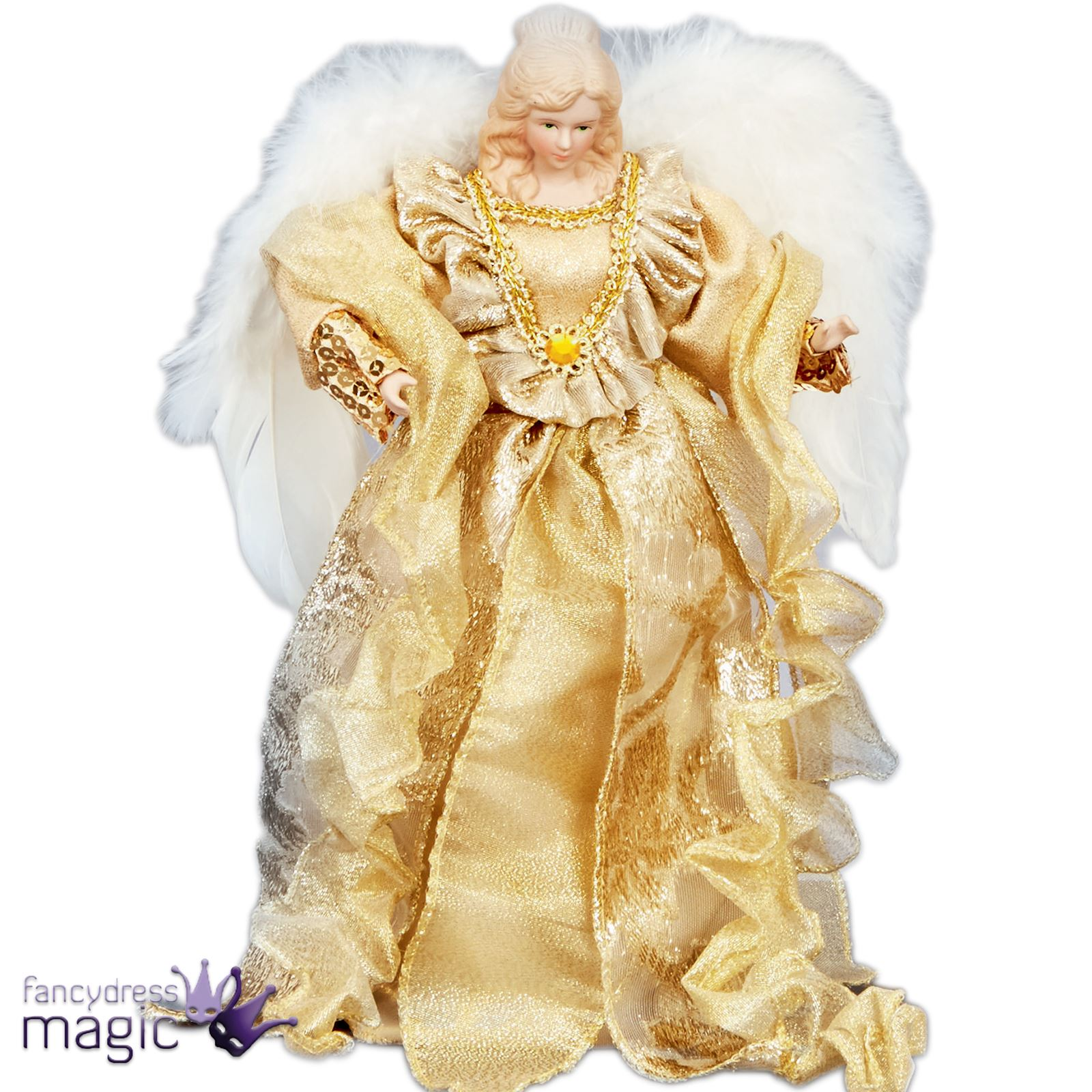 30cm deluxe tree topper top gold angel fairy christmas. Black Bedroom Furniture Sets. Home Design Ideas