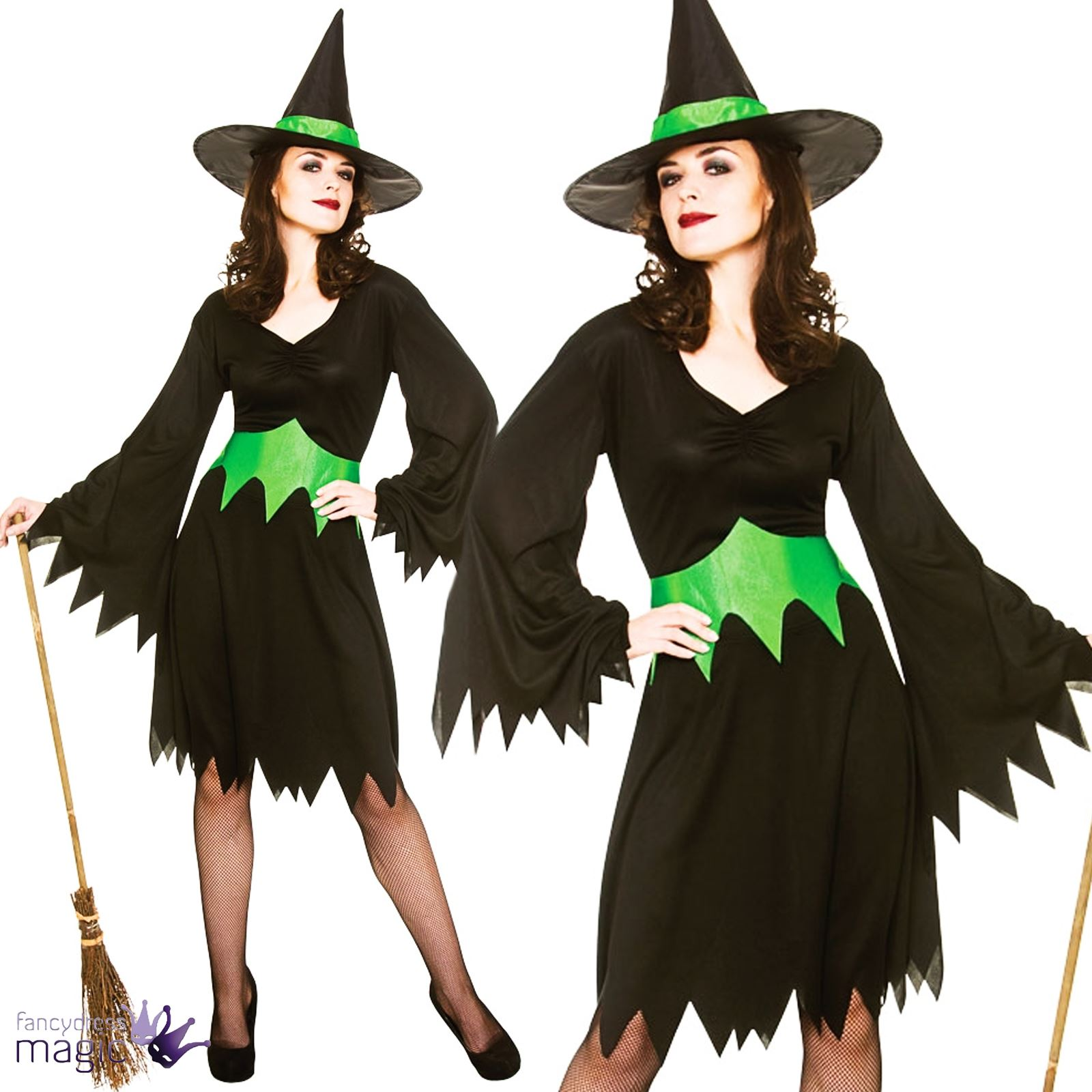 Adults-Womens-Wicked-Witch-West-Oz-Halloween-Fancy-Dress-Outfit-Costume-with-Hat