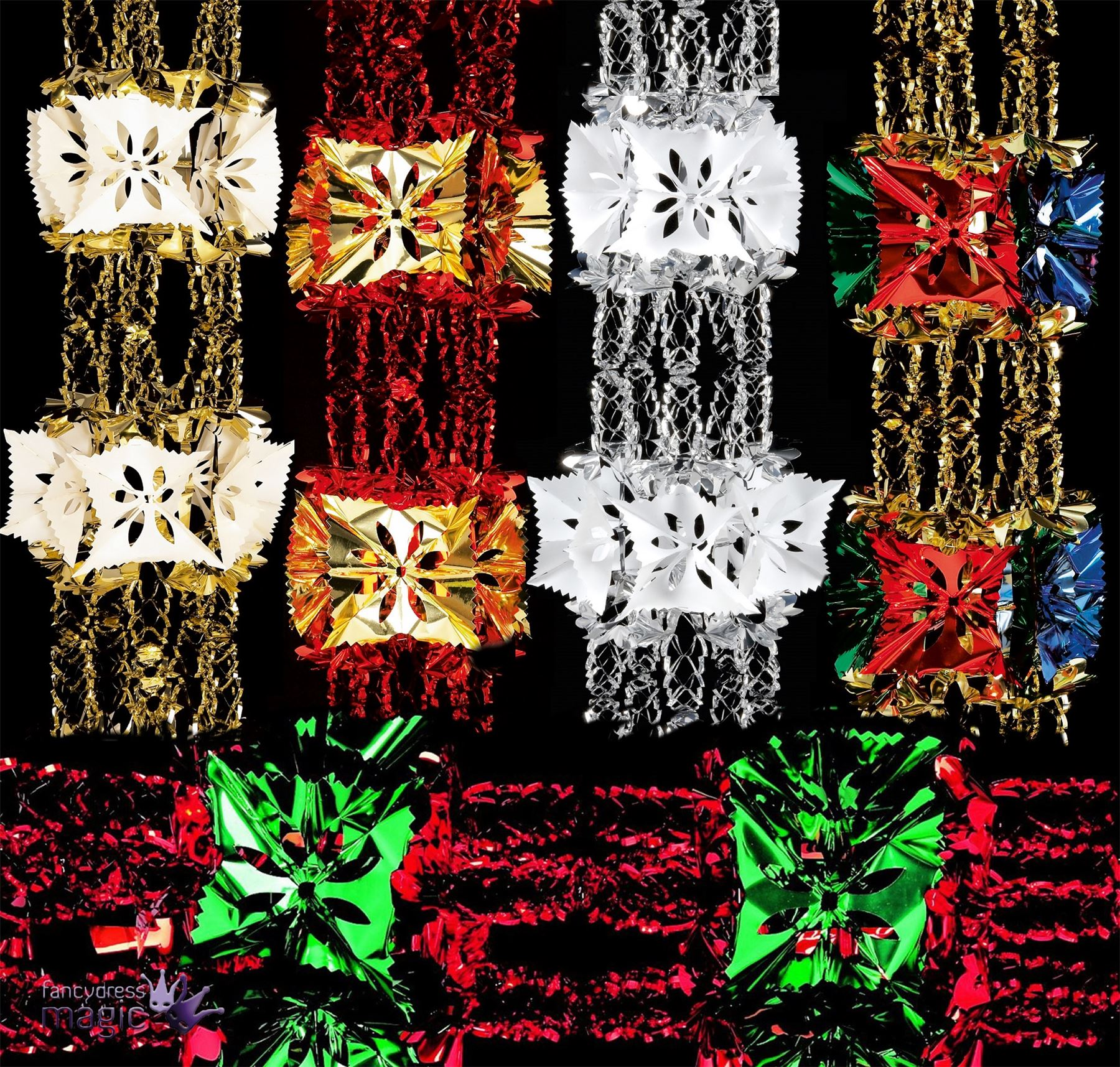 Foil luxury garland large foil christmas xmas for Large christmas decorations