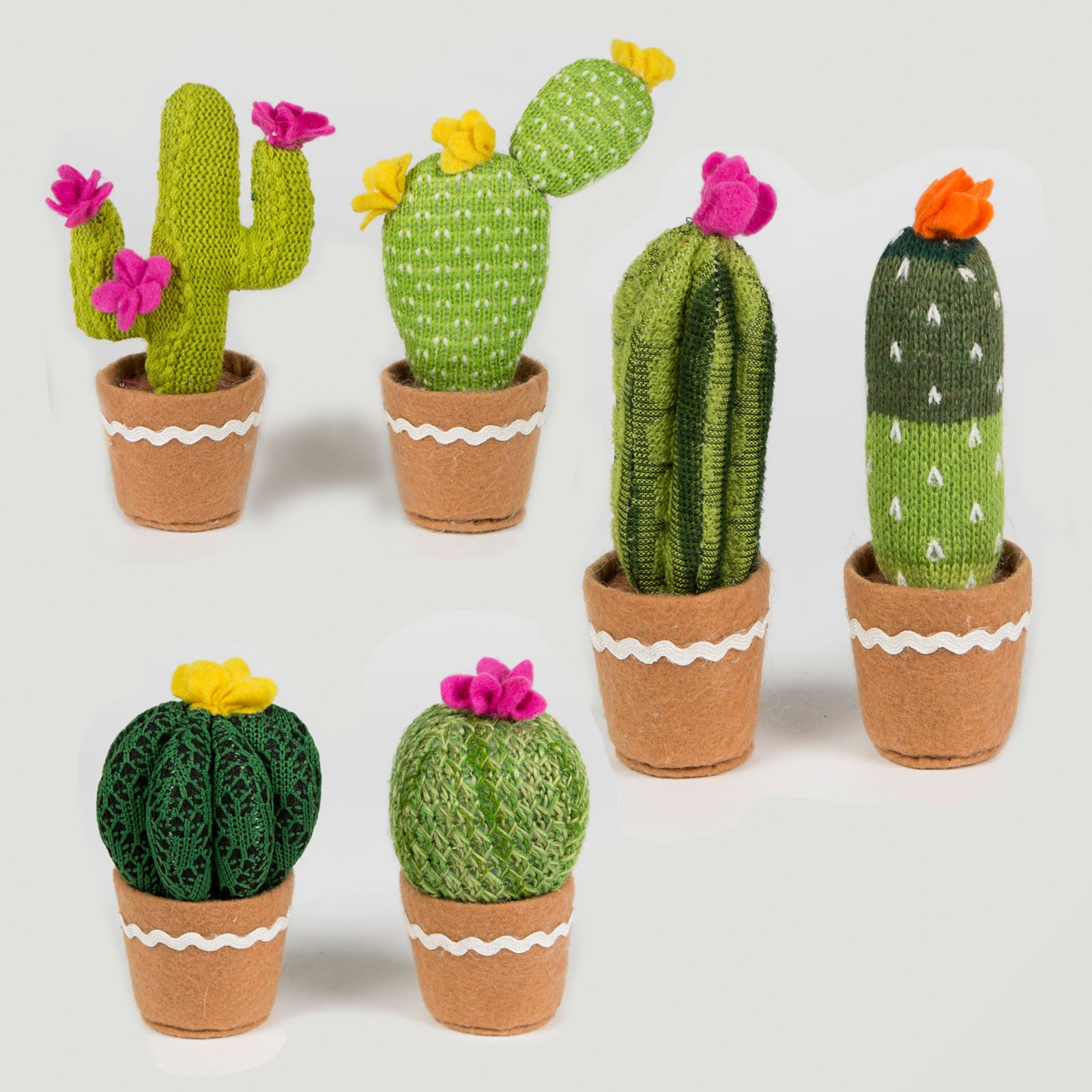 sass belle colourful cactus cacti knitted fabric faux plant fun pot decoration ebay. Black Bedroom Furniture Sets. Home Design Ideas