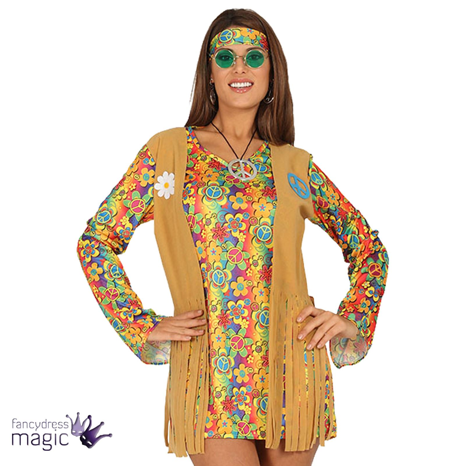 ladies 60s 70s hippie hippy fancy dress sexy flower power costume with waistcoat ebay. Black Bedroom Furniture Sets. Home Design Ideas