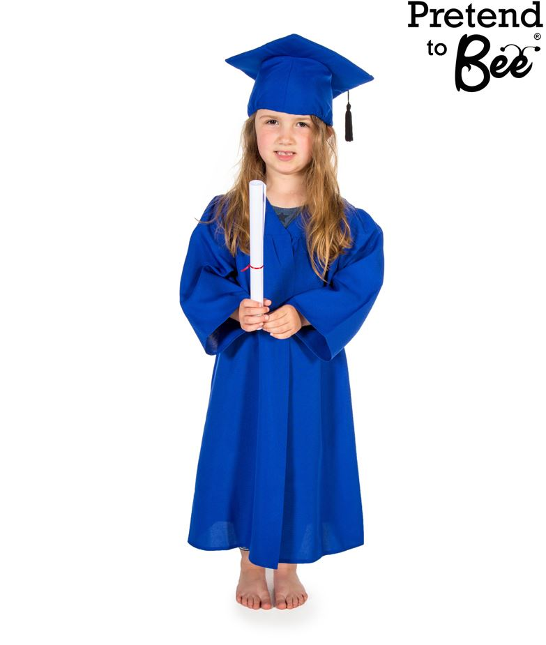 Childs Boys Girls Graduation Gown Robe And Mortar Board Hat Fancy ...