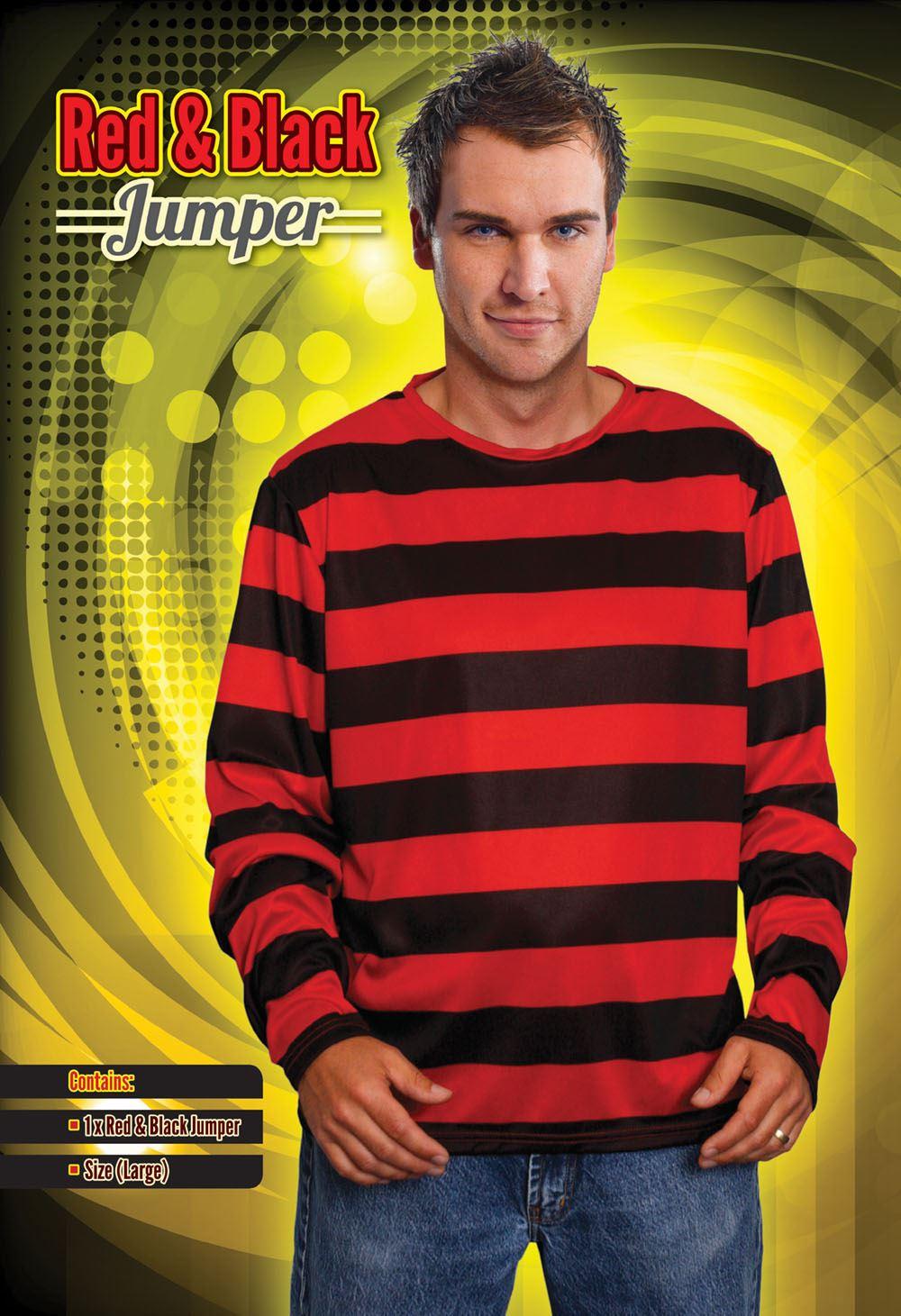 Mens Adult Dennis the Menace Red and Black Striped Jumper Fancy Dress  Costume BN bd16860db