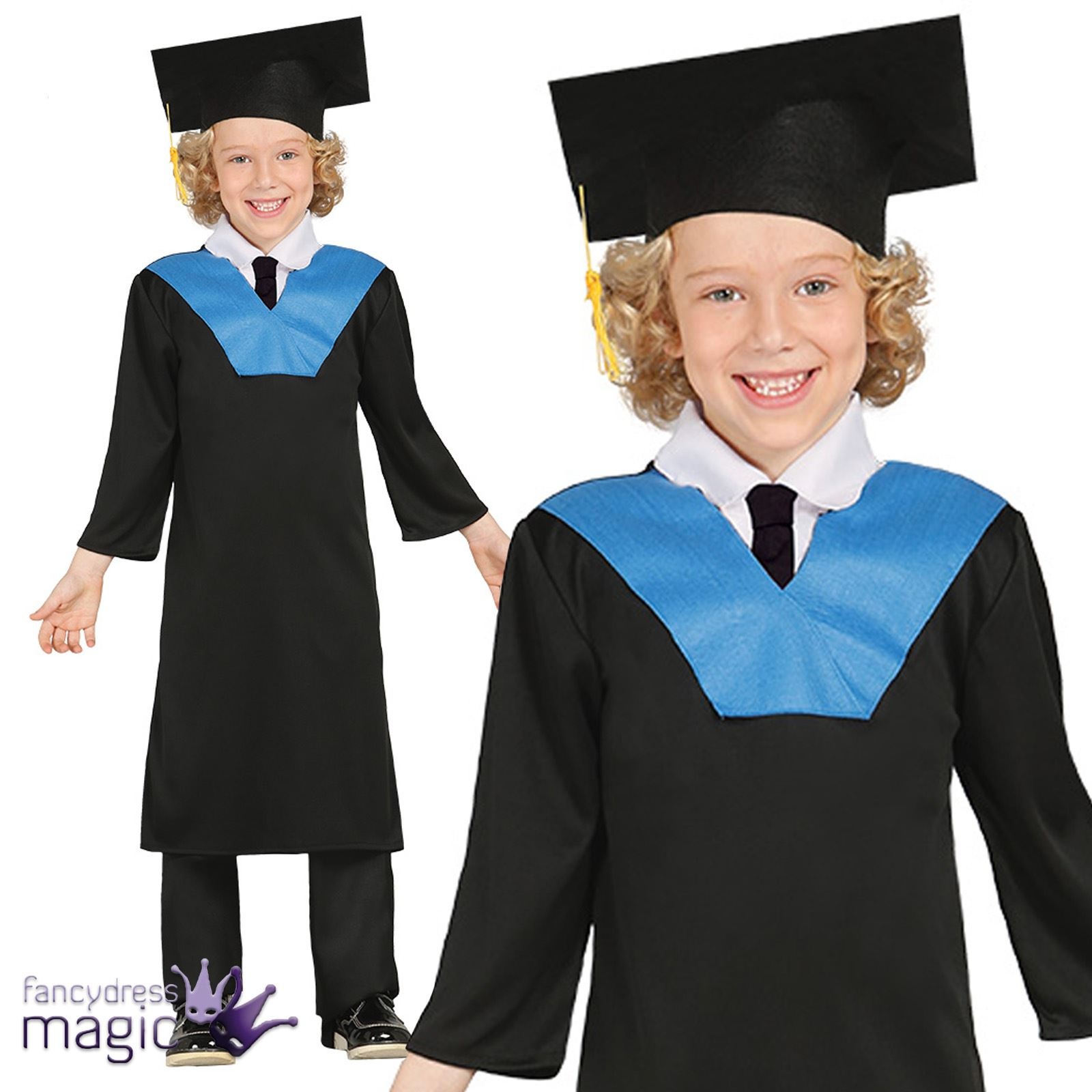 Boys Girls Childs Student Graduation Gown Fancy Dress Costume Mortar ...