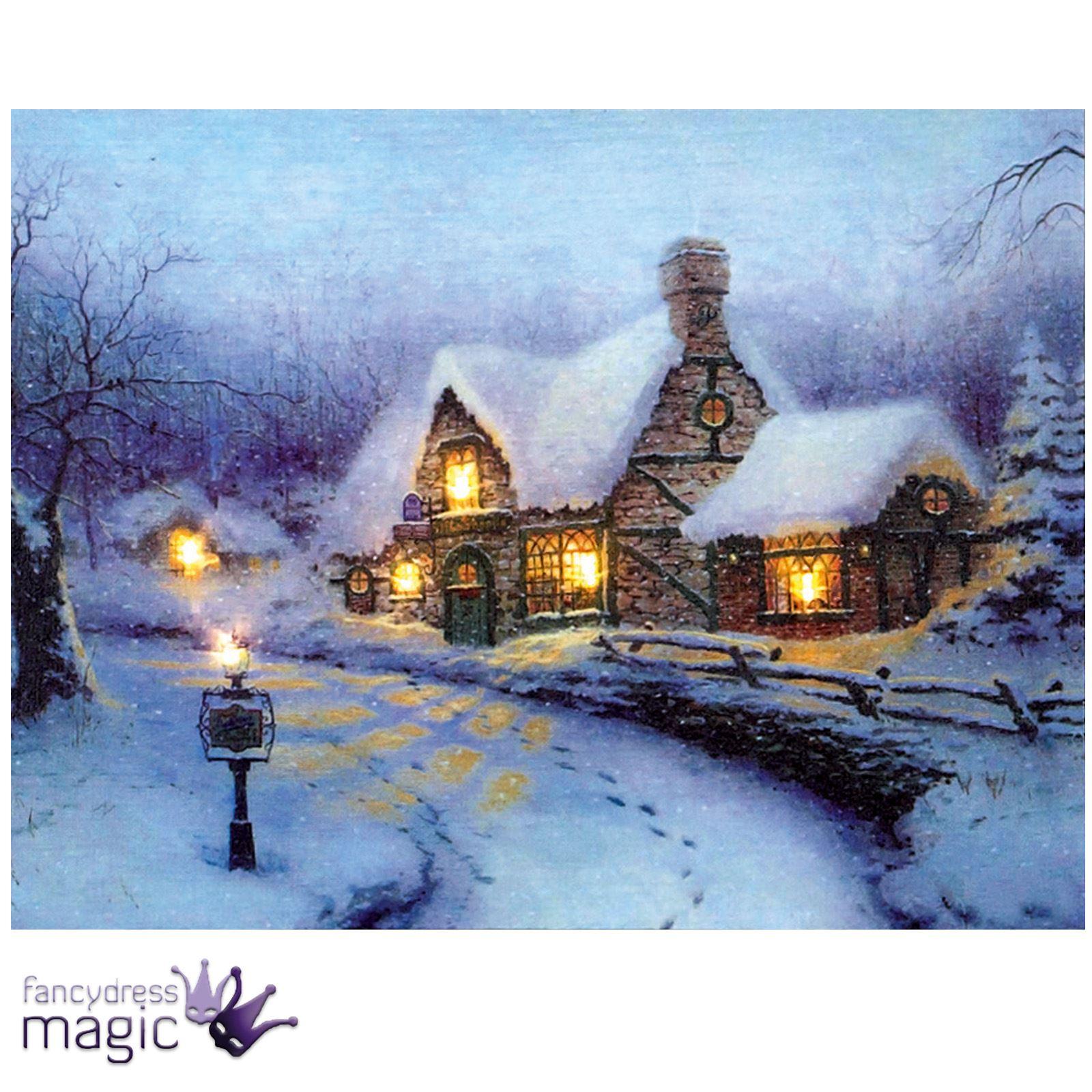 40-x-30cm-Battery-Operated-LED-Christmas-Xmas-Canvas-Print-Snowy-Houses-Wall-Art