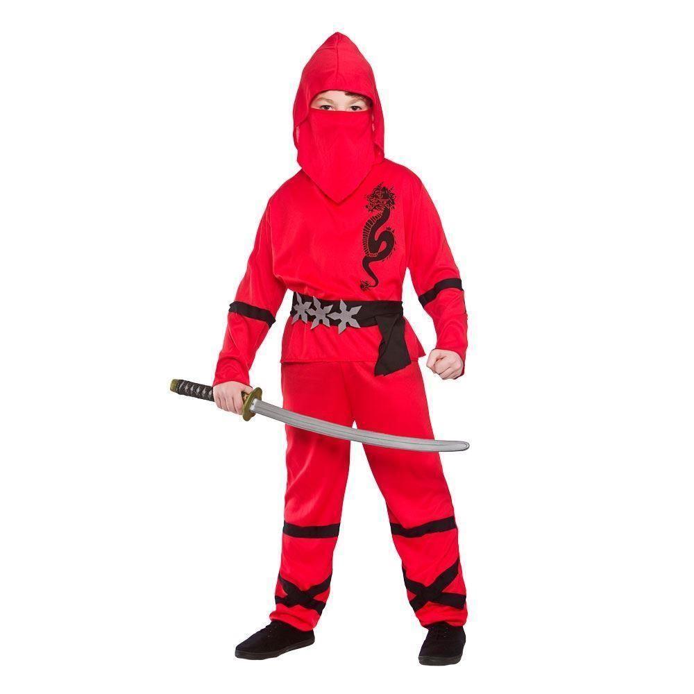 ... Picture 2 of 2  sc 1 st  eBay & Red Power Ninja Kids Fancy Dress Costume Halloween Japanese Martial ...