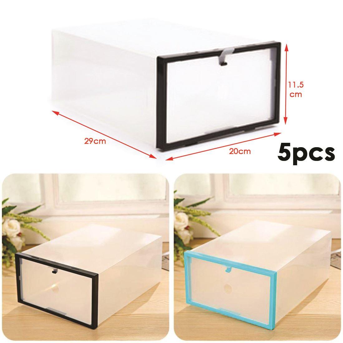 5 Caja Organizador De Zapatos De Pl Stico Transparente Apilable  ~ Cajas Transparentes Para Zapatos
