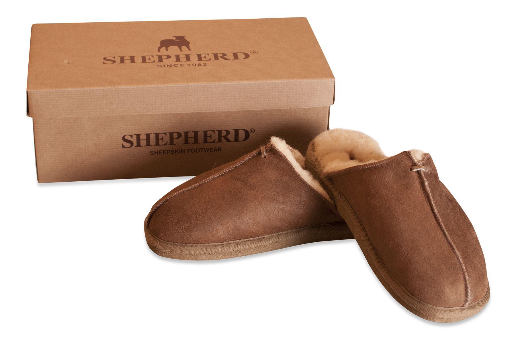 648cc8fec5be Shepherd Mens Genuine Sheepskin Slippers Mules Hard Rubber Sole HUGO ...