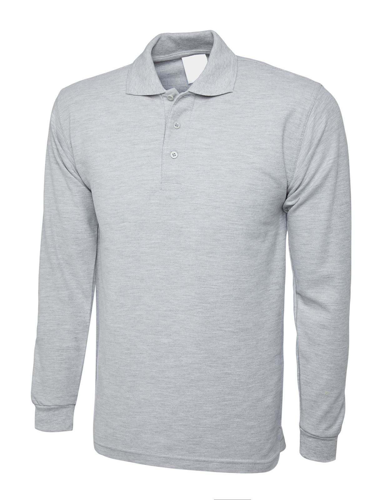 Mens Womens Long Sleeve Polo Shirt Plain Top Casual Work