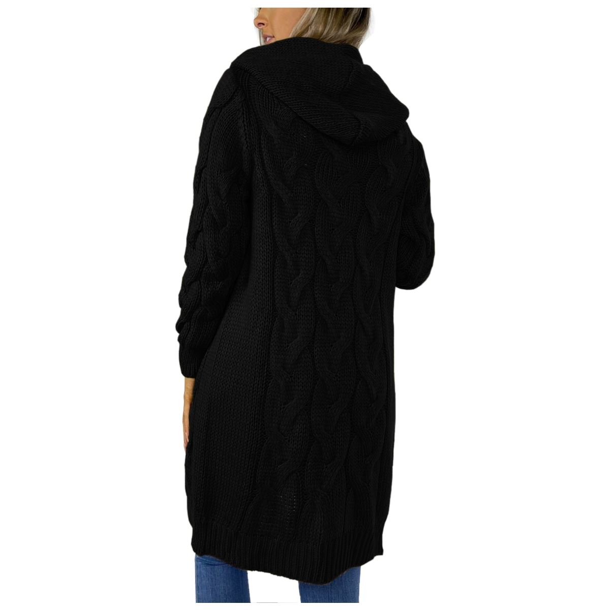 Ladies-Cable-Knitted-Hooded-Open-Longline-Cardigan-Winter-Oversized-Jacket-Top thumbnail 4