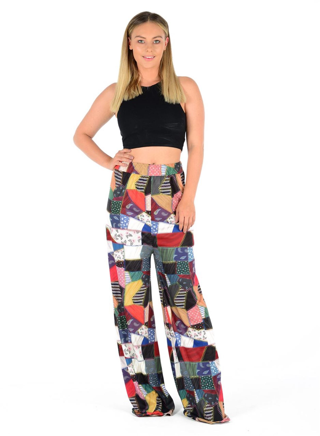 New-Ladies-Floral-Printed-Wide-Leg-Flared-Parallel-Baggy-Trousers-Pants-Palazzo thumbnail 73
