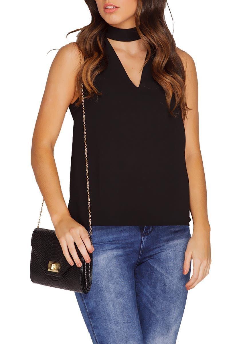 New Womens Plain High Choker V Neck Collar CutOut Plunge Vest Blouse T-Shirt Top