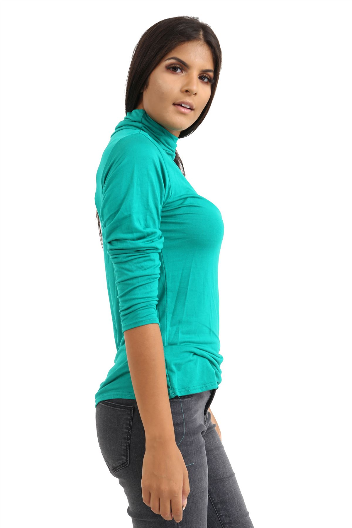 New-Ladies-Long-Sleeve-Plain-Turtle-Polo-Roll-Neck-Stretch-Jumper-T-Shirt-TeeTop thumbnail 42