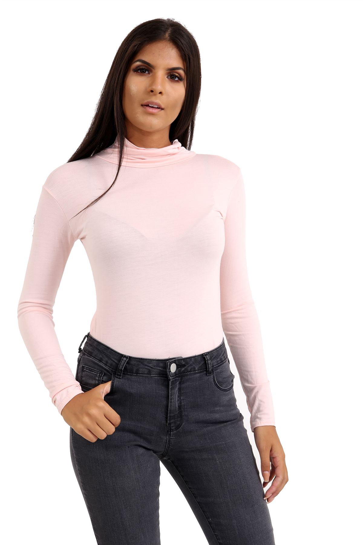 New-Ladies-Long-Sleeve-Plain-Turtle-Polo-Roll-Neck-Stretch-Jumper-T-Shirt-TeeTop thumbnail 78