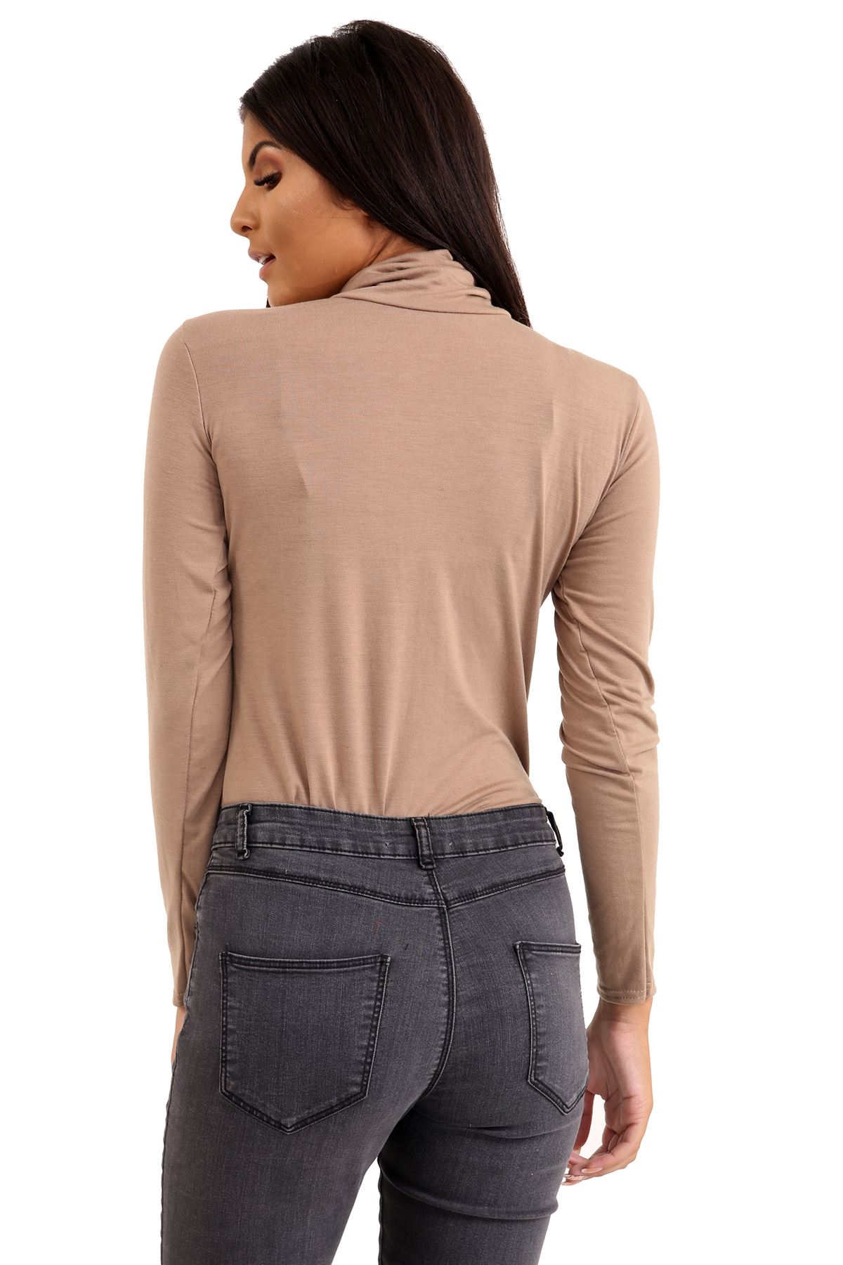 New-Ladies-Long-Sleeve-Plain-Turtle-Polo-Roll-Neck-Stretch-Jumper-T-Shirt-TeeTop thumbnail 68