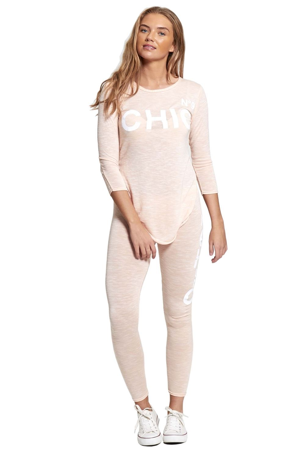 HEM AND BOW S-L LADIES NEW CASUAL BEIGE TRACKSUIT MARL WITH BLACK CHIFFON BACK