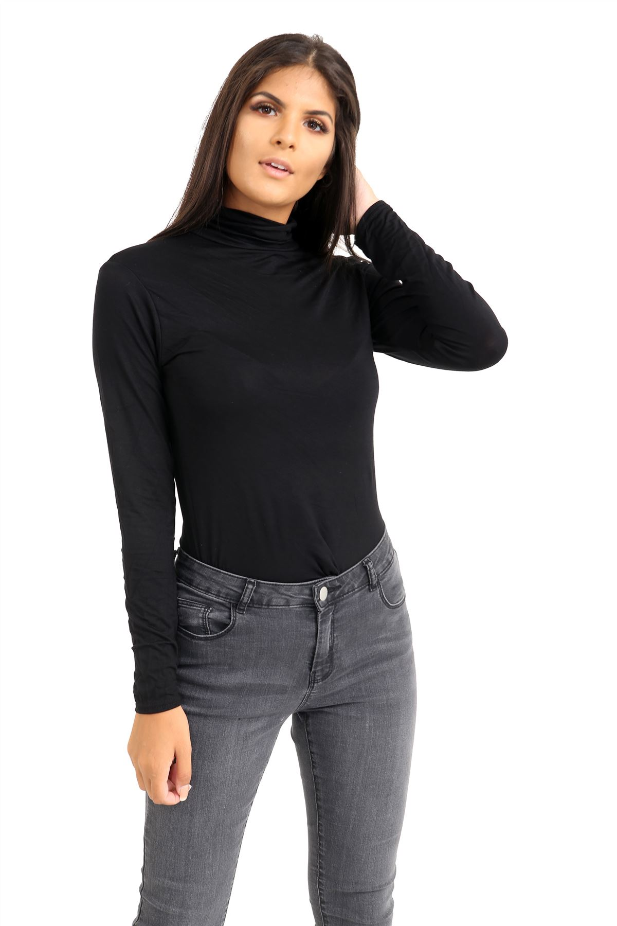 New-Ladies-Long-Sleeve-Plain-Turtle-Polo-Roll-Neck-Stretch-Jumper-T-Shirt-TeeTop thumbnail 14