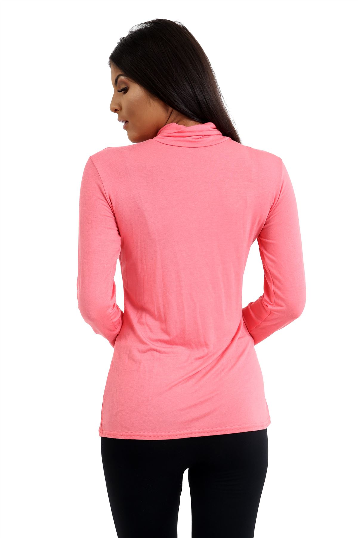 New-Ladies-Long-Sleeve-Plain-Turtle-Polo-Roll-Neck-Stretch-Jumper-T-Shirt-TeeTop thumbnail 39