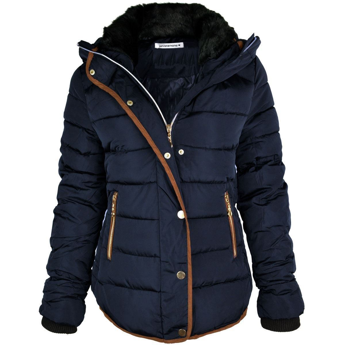 New Ladies Quilted Puffer Bubble Padded Jacket Fur Collar