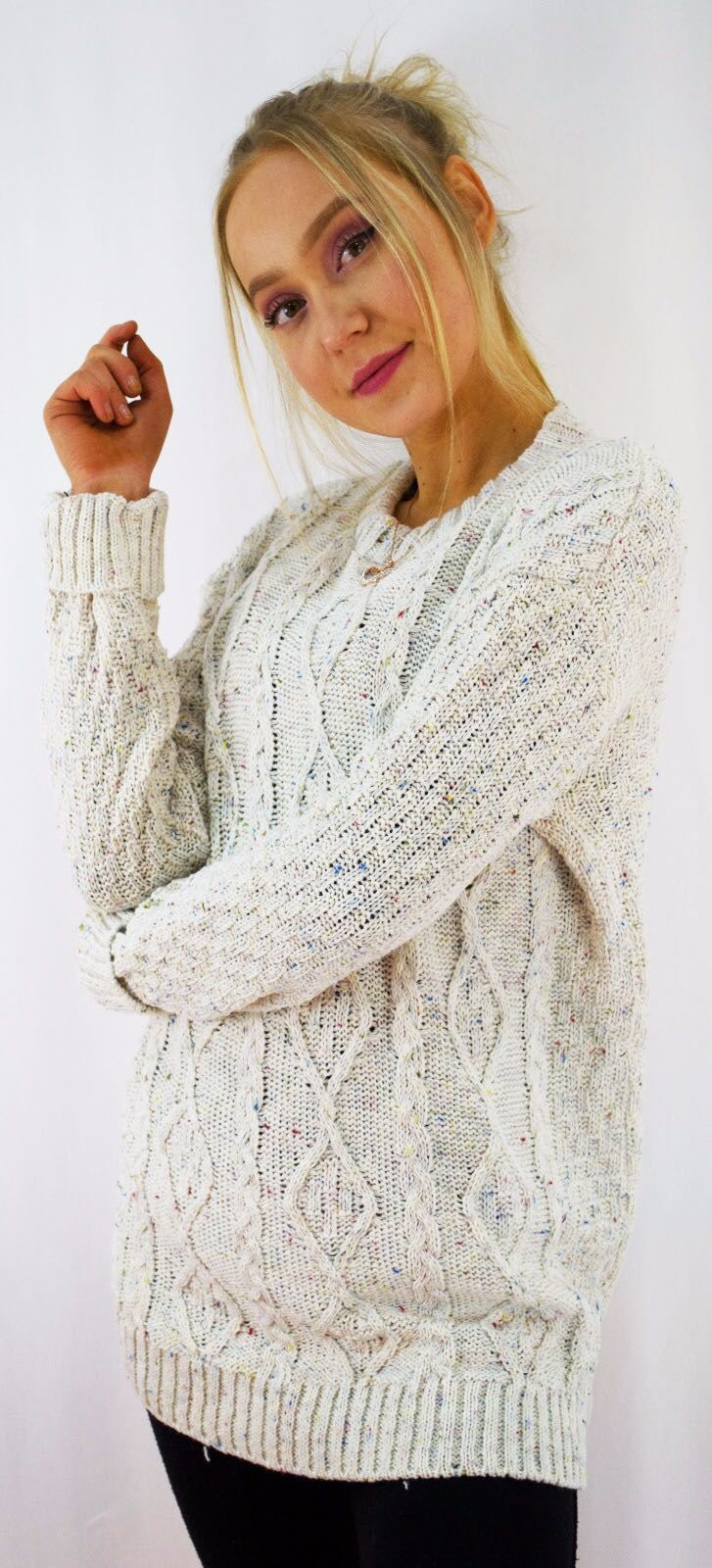 New-Ladies-Long-Manche-Chunky-Cable-Knitted-Jumper-crew-neck-hiver-Sweater-Top miniature 10