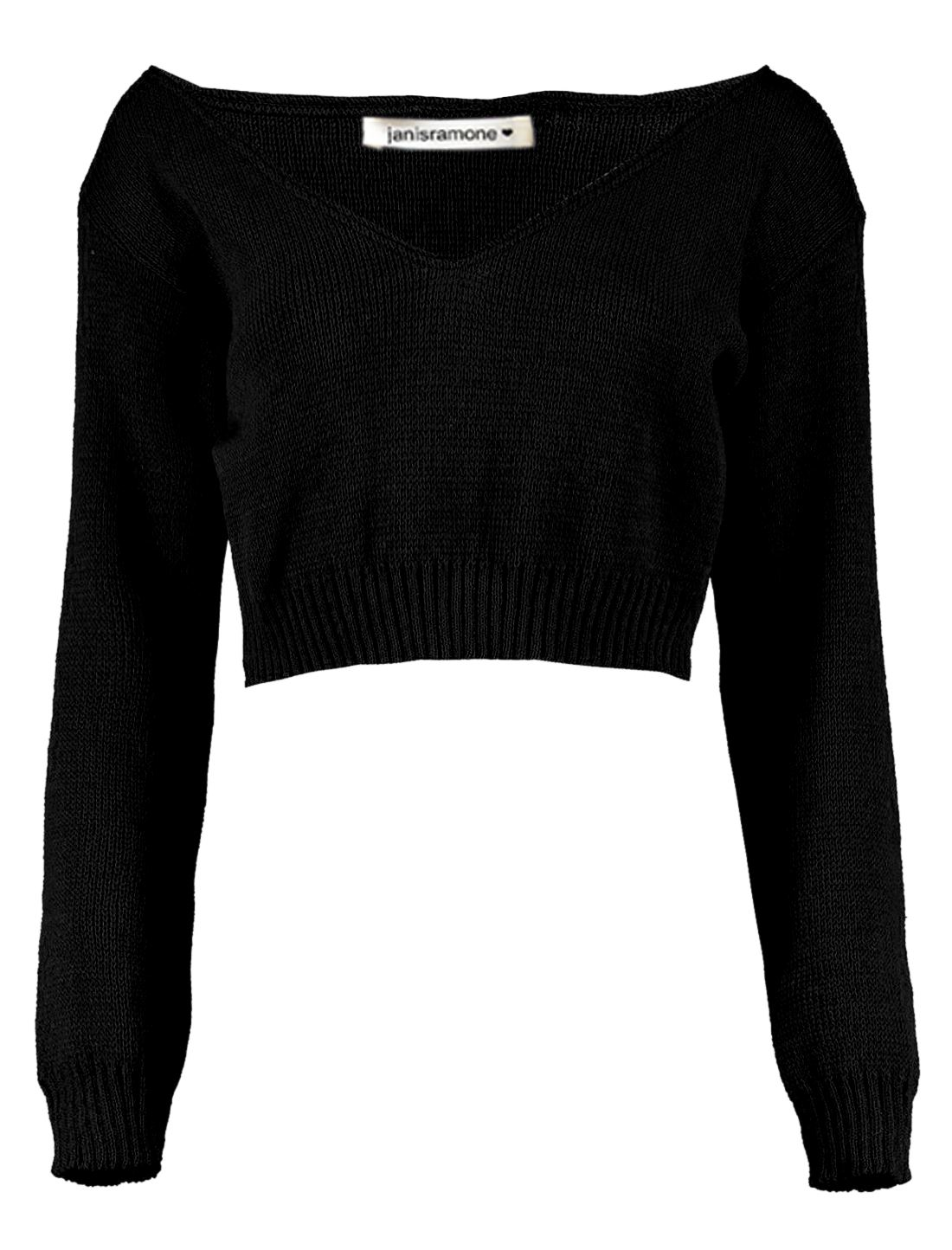 New-Womens-Off-Shoulder-V-Neck-Knitted-Cropped-Long-Sleeve-Jumper-Warm-Sweater miniatura 5