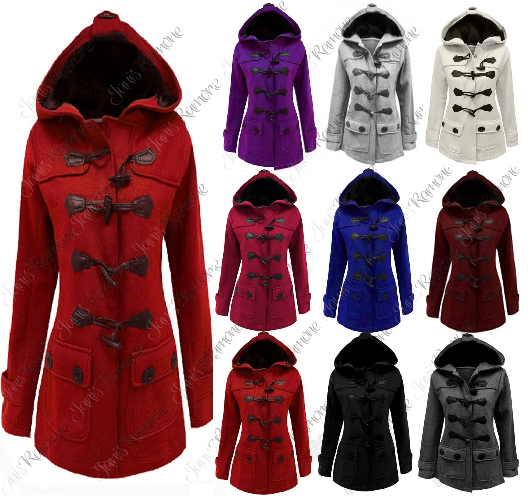 Ladies 12-24 New Charcoal Fleece Duffle Style Hooded Coat Long Jacket Ladies