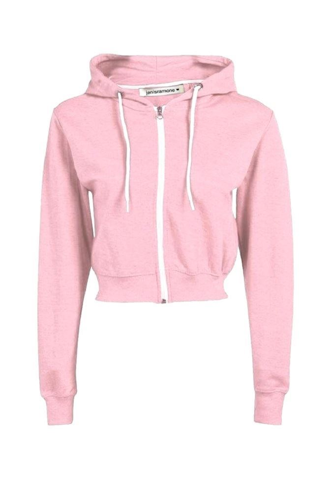 77e21cf4db631 New Ladies Long Sleeve Crop Hooded Sweatshirt Zip Up Fleece Plain ...