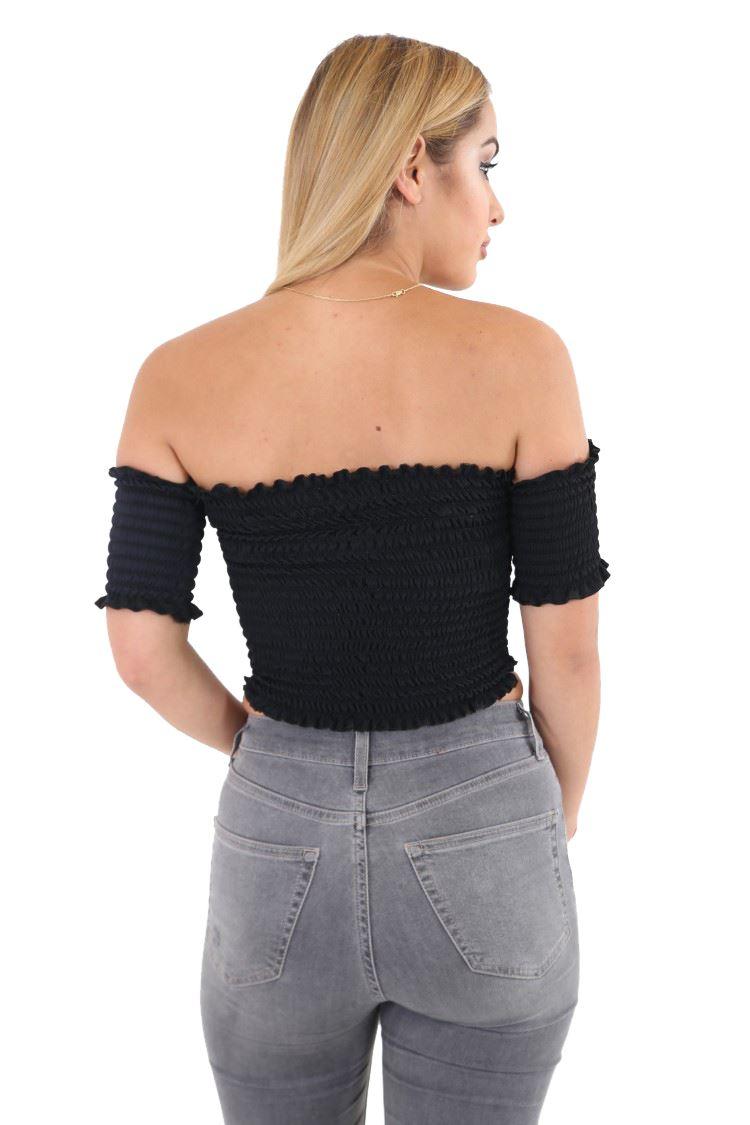 ca383b30f0b New Womens Plain Sheer Ruched Stretch Bandeau Off Shoulder Short ...