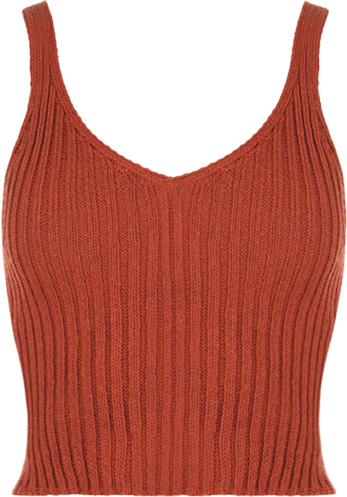 0079e1f434c New Women Ladies V Neck Knitted Ribbed Plain Bralet Crop Top Sleeveless  Vest Top