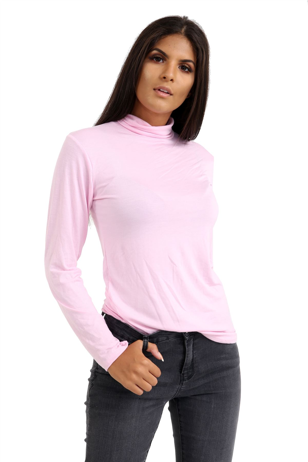 New-Ladies-Long-Sleeve-Plain-Turtle-Polo-Roll-Neck-Stretch-Jumper-T-Shirt-TeeTop thumbnail 4