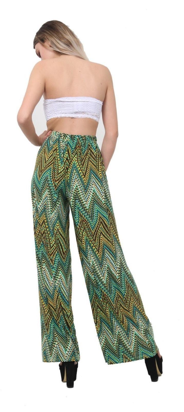 New-Ladies-Floral-Printed-Wide-Leg-Flared-Parallel-Baggy-Trousers-Pants-Palazzo thumbnail 14
