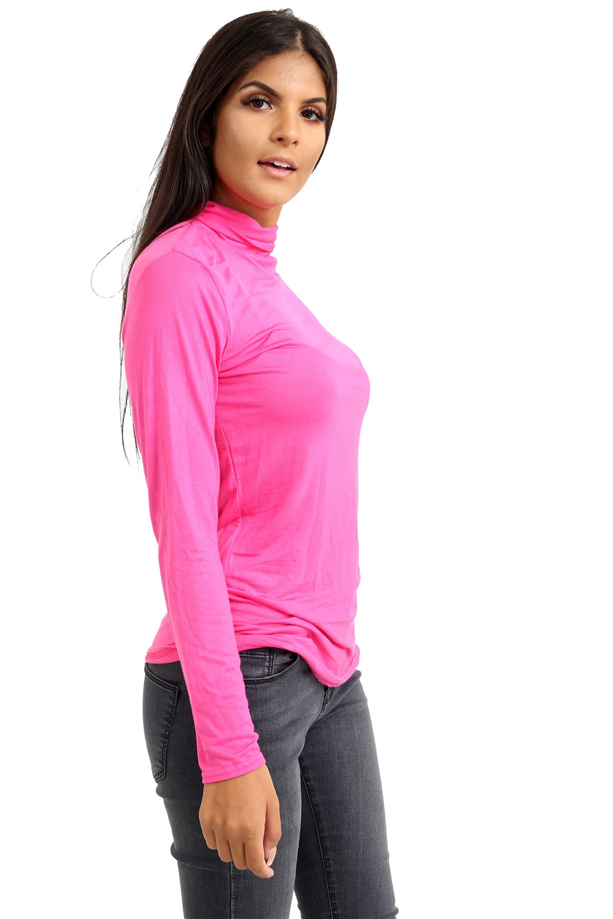 New-Ladies-Long-Sleeve-Plain-Turtle-Polo-Roll-Neck-Stretch-Jumper-T-Shirt-TeeTop thumbnail 20