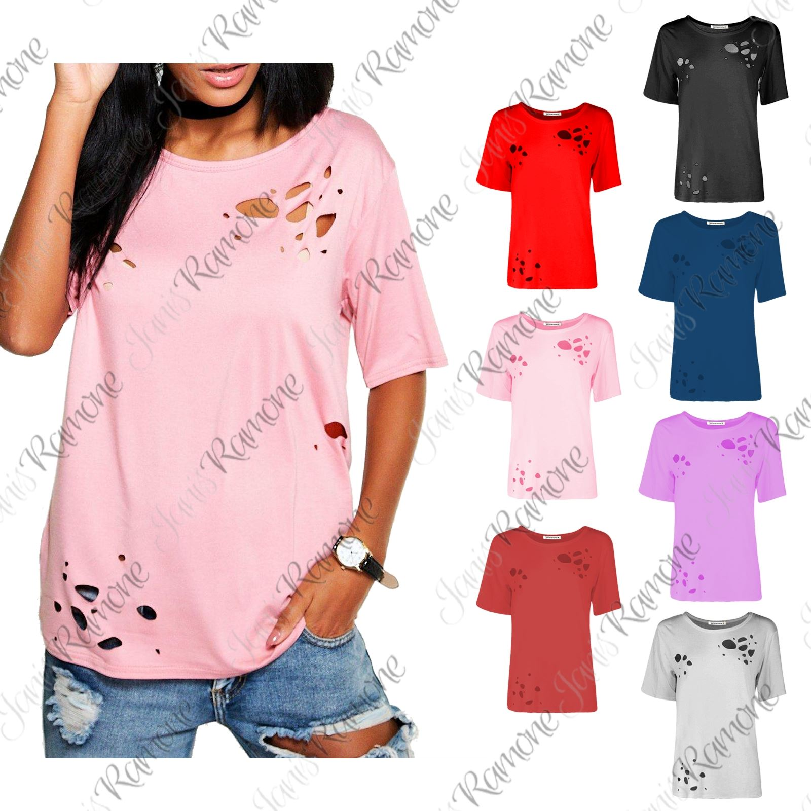 Women/'s Distressed Top Short Sleeve Loose T-Shirt NEW!