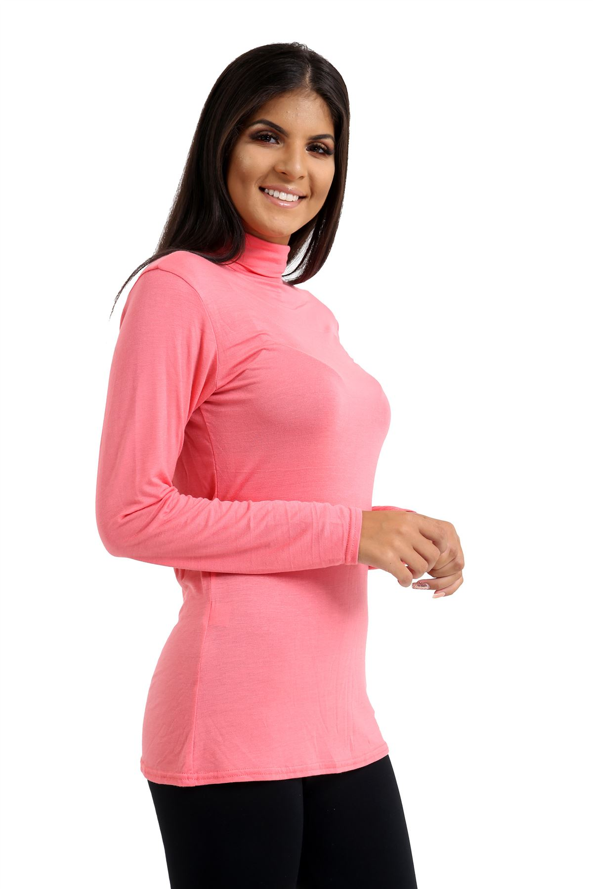 New-Ladies-Long-Sleeve-Plain-Turtle-Polo-Roll-Neck-Stretch-Jumper-T-Shirt-TeeTop thumbnail 38