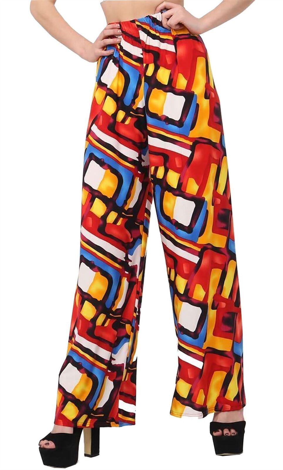 New-Ladies-Floral-Printed-Wide-Leg-Flared-Parallel-Baggy-Trousers-Pants-Palazzo thumbnail 35