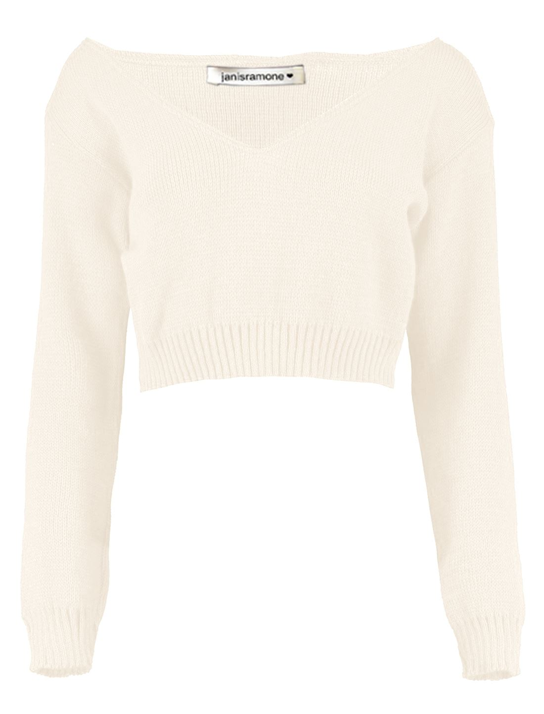 New-Womens-Off-Shoulder-V-Neck-Knitted-Cropped-Long-Sleeve-Jumper-Warm-Sweater miniatura 7