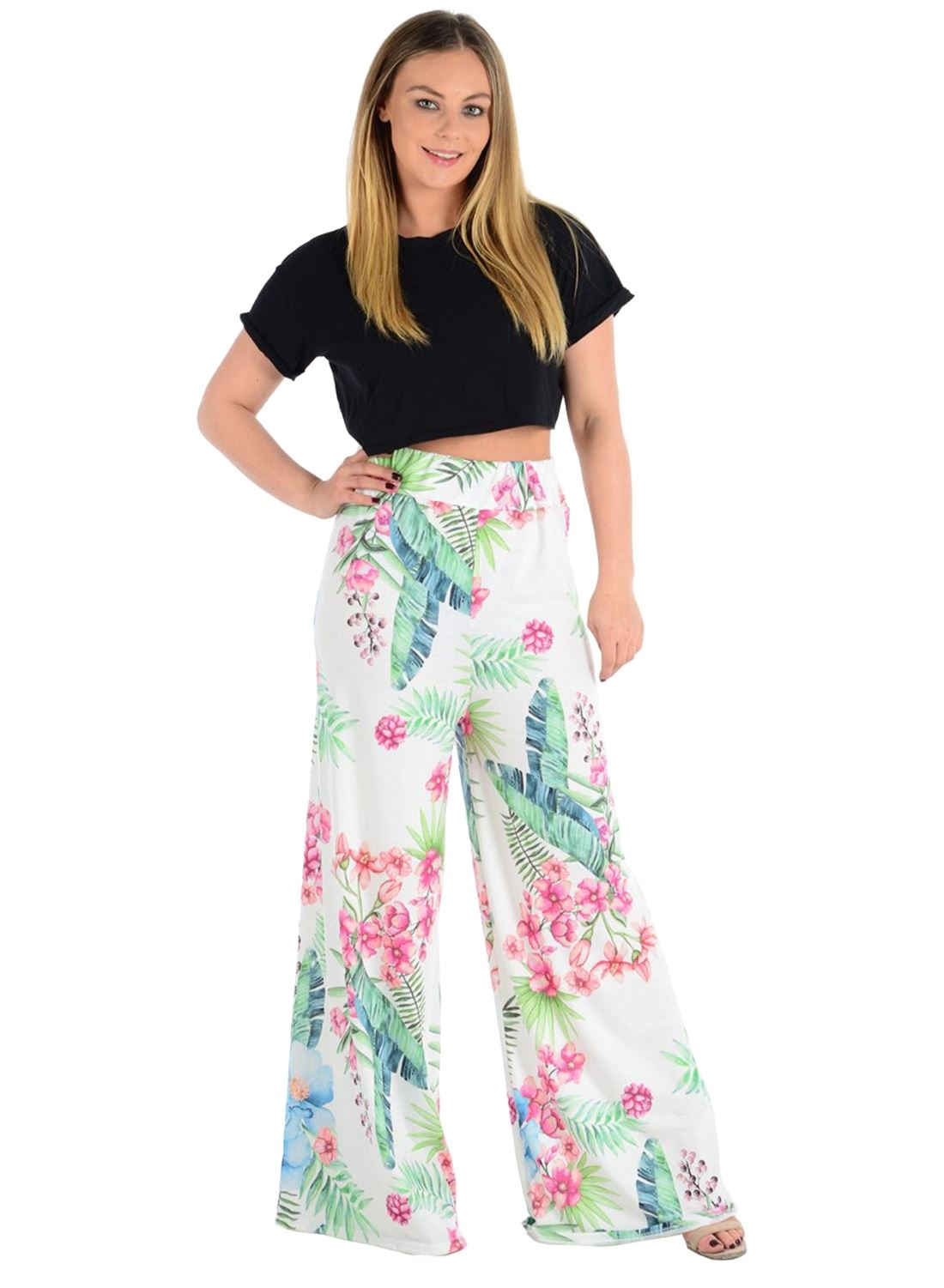 New-Ladies-Floral-Printed-Wide-Leg-Flared-Parallel-Baggy-Trousers-Pants-Palazzo thumbnail 24