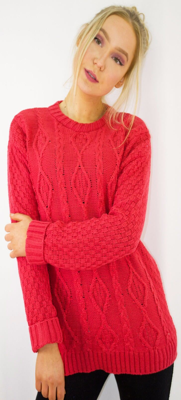New-Ladies-Long-Manche-Chunky-Cable-Knitted-Jumper-crew-neck-hiver-Sweater-Top miniature 37