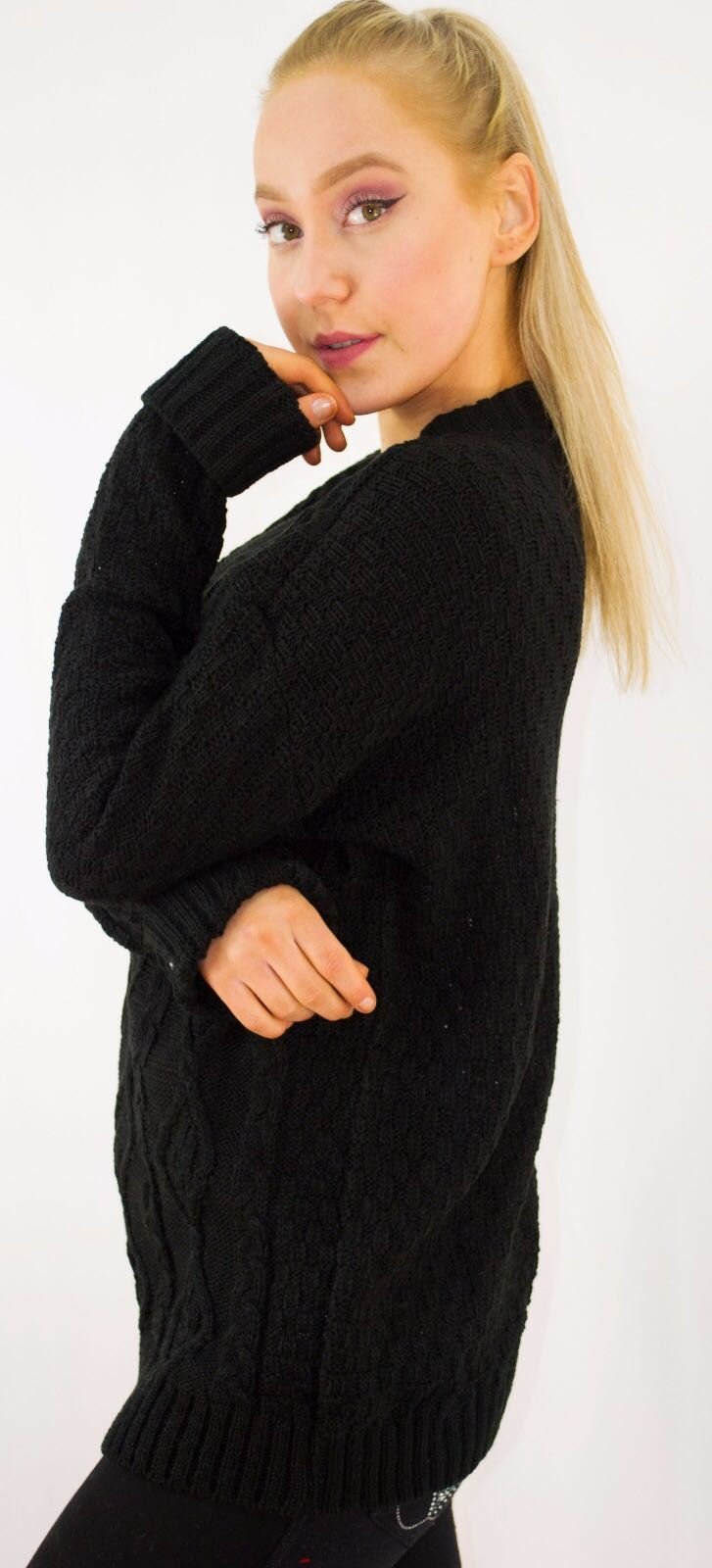 New-Ladies-Long-Manche-Chunky-Cable-Knitted-Jumper-crew-neck-hiver-Sweater-Top miniature 4