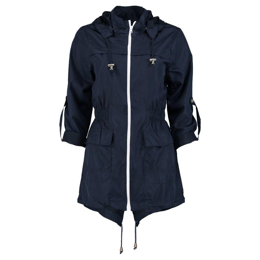 New Womens Plain Fishtail Parka Showerproof Raincoat Zip Mac Hooded Jacket  Coat - New Womens Plain Fishtail Parka Showerproof Raincoat Zip Mac