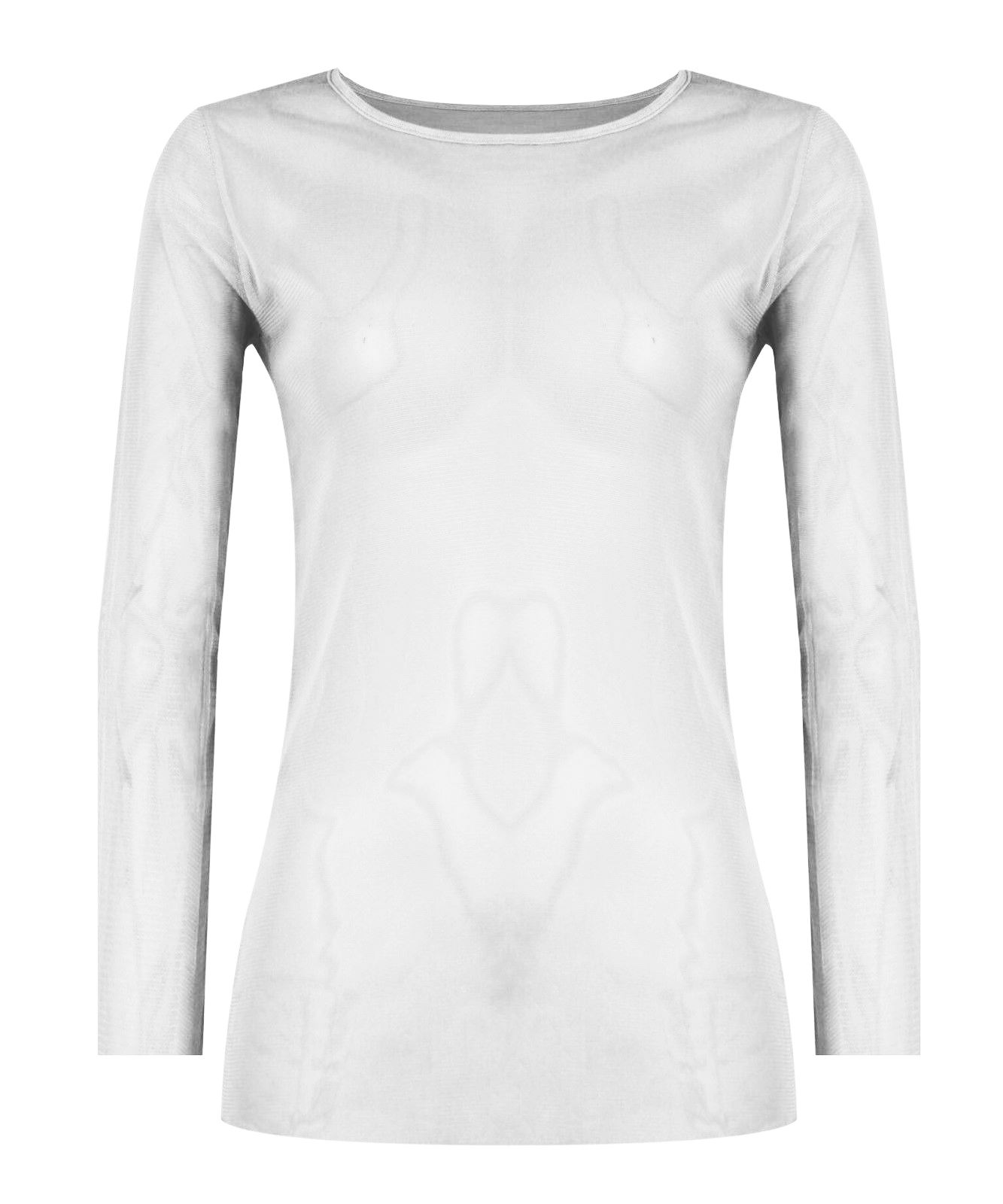0d7f352a3ff637 New Womens Ladies Long Sleeve Plain Sheer Mesh See Through T Shirt Stretchy  Top