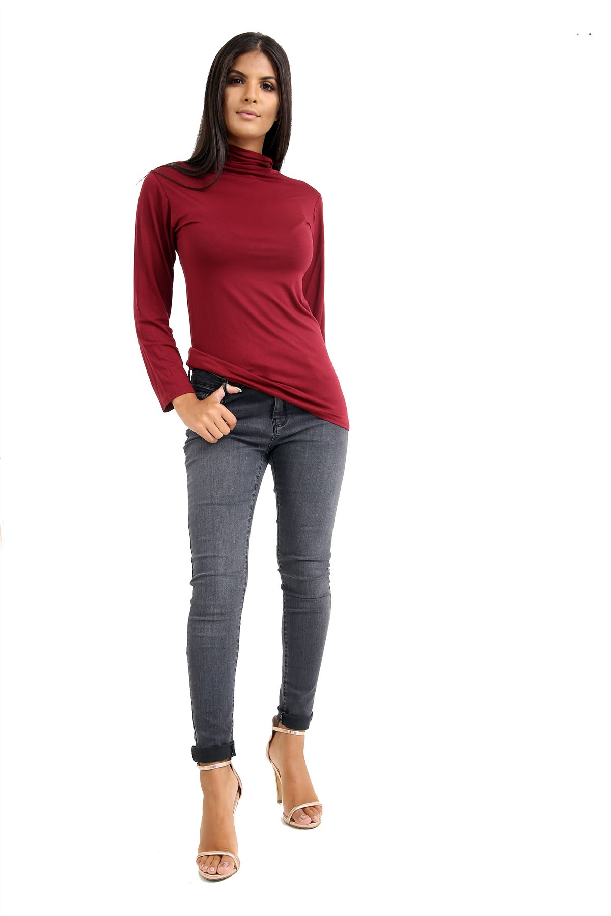 New-Ladies-Long-Sleeve-Plain-Turtle-Polo-Roll-Neck-Stretch-Jumper-T-Shirt-TeeTop thumbnail 131